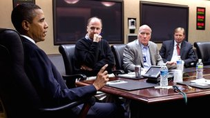 President Obama and advisers in situation room