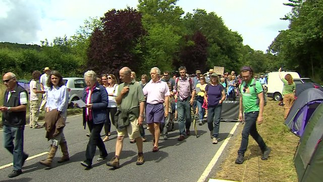 Balcombe residents walk to protest site