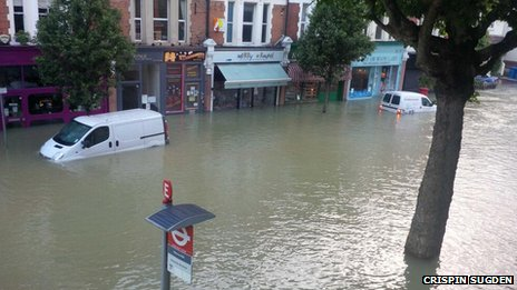 Burst water main in Herne Hill