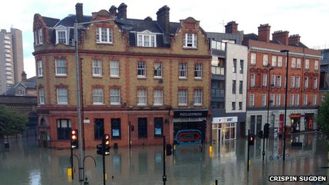 View of flooding in Herne Hill