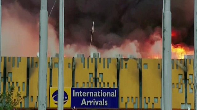 Fire ripped through parts of Jomo Kenyatta airport in Nairobi