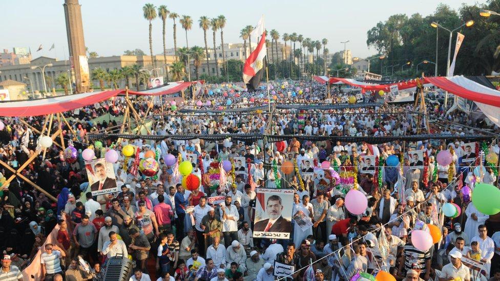 Pro-Morsi Eid celebrations at al-Nahda Square in Cairo, Egypt (8 August 2013)