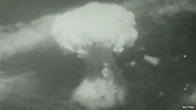 A big white mushroom cloud formed the moment the bomb dropped on Nagasaki