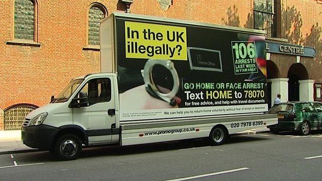 Illegal immigrant advert van