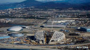 Venues being built for the Sochi Winter Olympics
