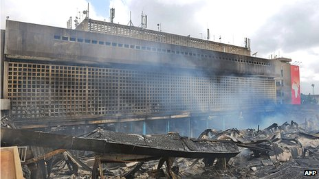 The smouldering remains of the international arrivals terminal on 8 August 2013
