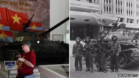 Tank 834 in museum and outside the Presidential Palace in Saigon