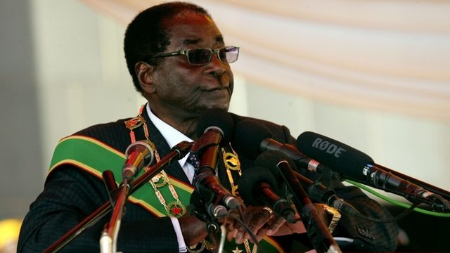 Zimbabwe President Robert Mugabe delivers a speech at the National Heroes Acre in Harare
