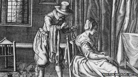 A doctor applies leeches to the back of a female patient as a means of letting blood in the 17th Century
