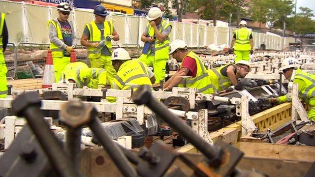Construction staff on new tram line