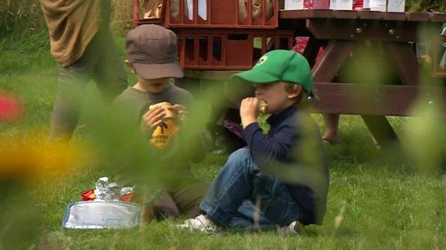 Children enjoying a free picnic
