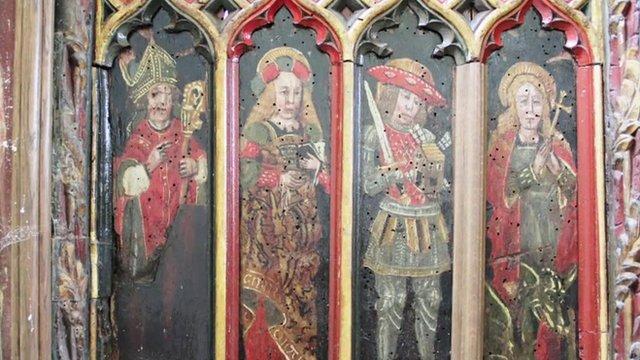 The panels at Holy Trinity Church in Torbryan, Devon