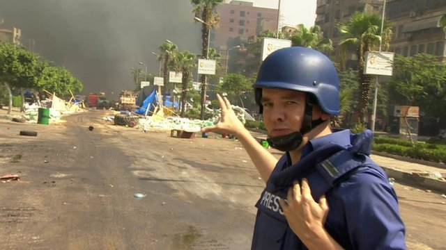 James Reynolds near the Rabaa al-Adawiya mosque