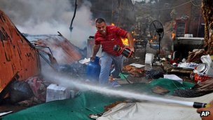 Fire and devastation at one protest camp