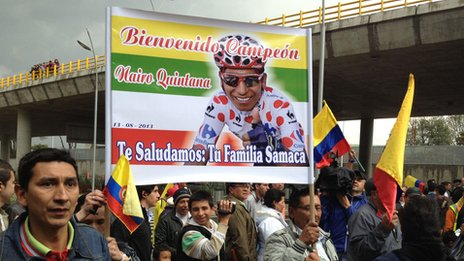 Crowds gathered in Bogota to welcome Nairo Quintana on 13 August 2013