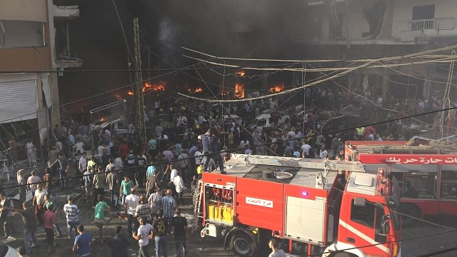 Fire engines at the scene in Beirut