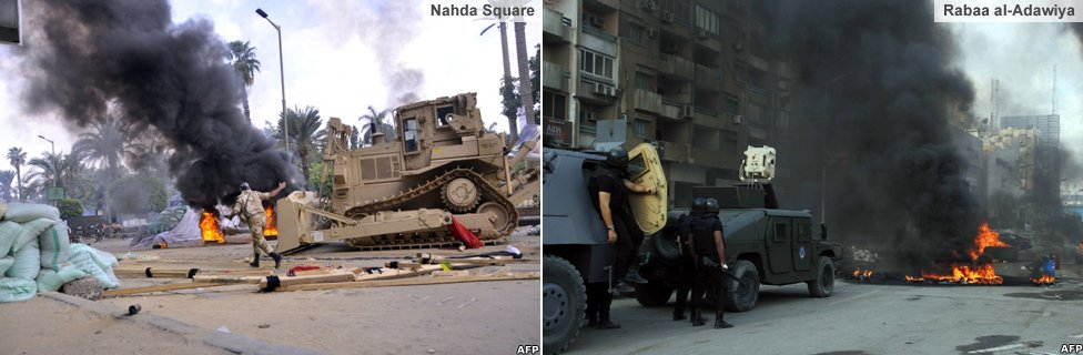 Security forces moving into Nahda and Rabaa al-Adawiya camps