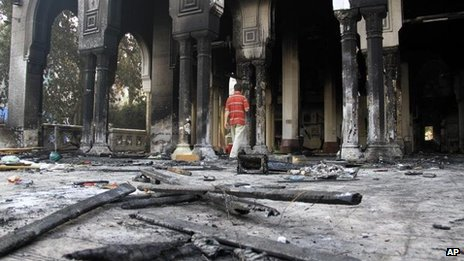 Remains of Rabaah al-Adawiya mosque, Cairo on 15 August 2013