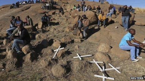 Crosses at the hill near Marikana