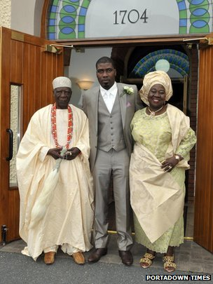 Prince Mustapha Oniru of Lagos with his parents outside church