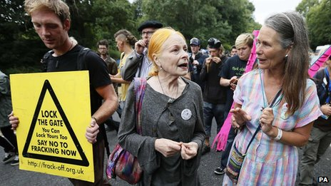 Fashion designer Vivienne Westwood with campaigners in Balcombe