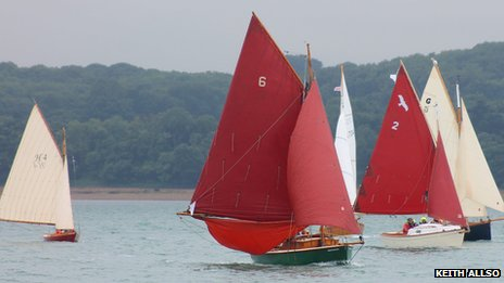 Vessels off Cowes, on the Isle of Wight, taking part in the Gaffers Jubilee Festival