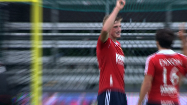 England's men celebrate their win over Poland