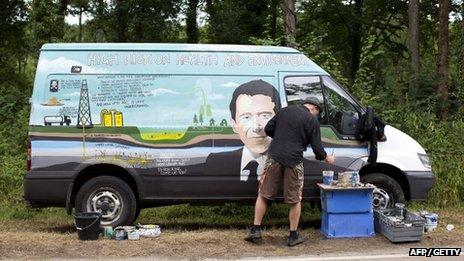 Campaigner paints van