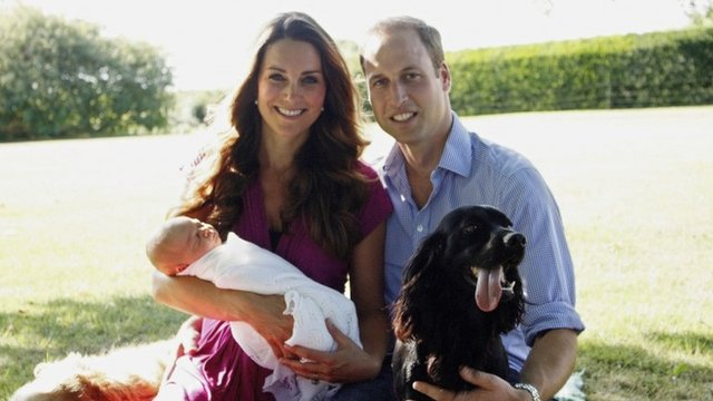 The Duke and Duchess of Cambridge with their son, Prince George Alexander Louis of Cambridge