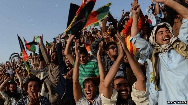 Football fans in Kabul