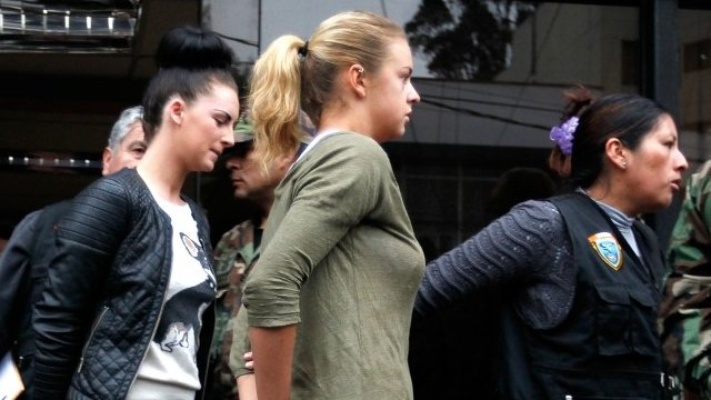 Michaella McCollum and Melissa Reid are led from police station in Peru