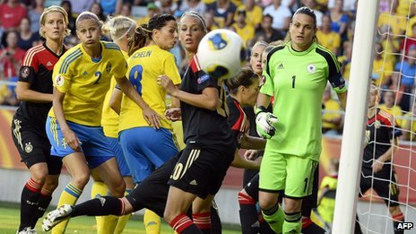 Sweden playing Germany at the recent UEFA Women's European Championship 2013