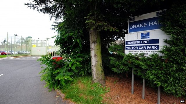 Drake Hall sign with prison in background