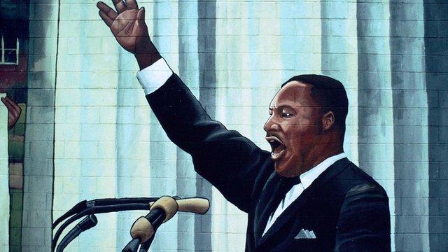 Mural of Martin Luther King Jr giving a speech