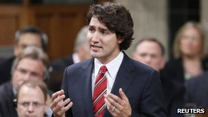 Liberal leader Justin Trudeau speaks during Question Period in the House of Commons on Parliament Hill in Ottawa 5 June 2013