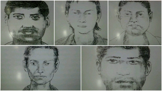 Police have released sketches of the five men they are seeking