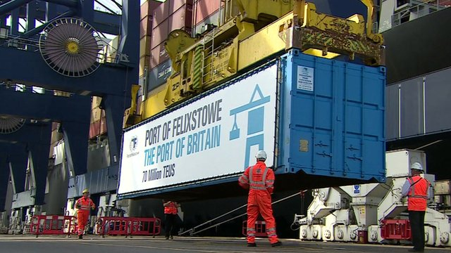 Shipping container being picked up at Felixstowe