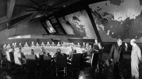 Peter Sellers (r) in a scene from Dr Strangelove