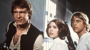 Harrison Ford, Carrie Fisher and Mark Hamill in Star Wars