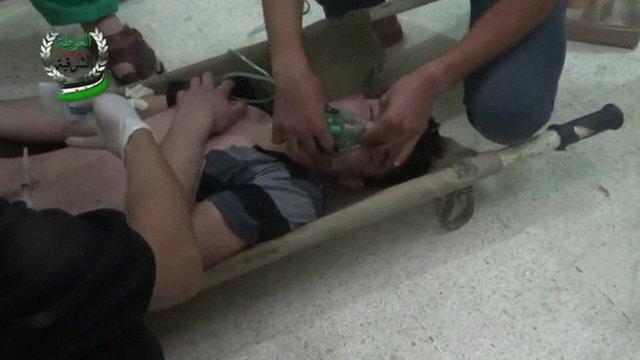 Man treated on stretcher