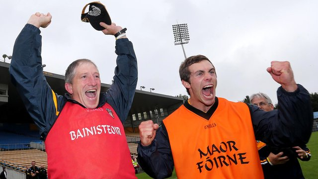 Antrim Under-21 hurling manager Kevin Ryan and selector Neil McManus celebrate after Antrim's shock win over Wexford