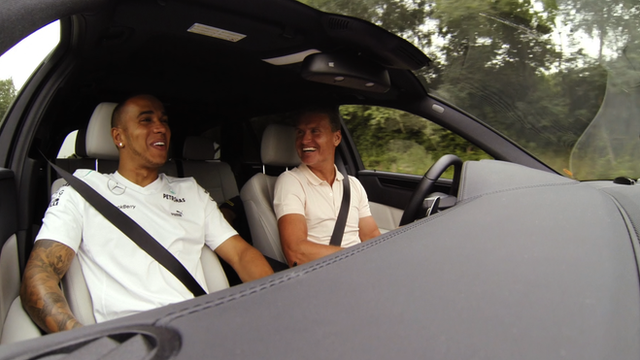Lewis Hamilton and David Coulthard driving in car