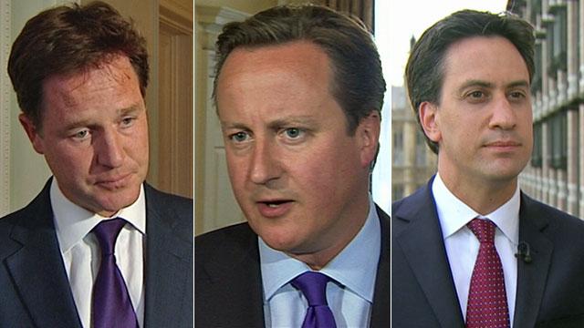 Nick Clegg, David Cameron and Ed Miliband