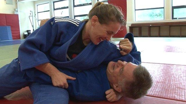 Connie Ramsay pins BBC Scotland presenter John Beattie on the mats