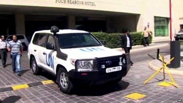 A UN vehicle leaves the Four Seasons Hotel in Damascus Syria, Tuesday, 27 August, 2013. The head of the UN chemical inspectors team, Ake Sellstrom, and the UN's disarmament chief, Angela Kane, left their hotel in Damascus on Tuesday.