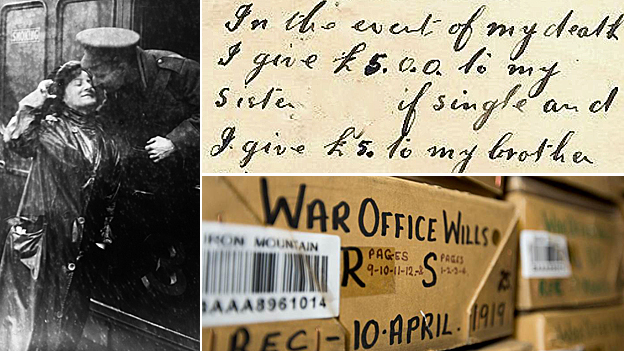 A soldier departs for the frontline from Victoria Station in London (left), one of the digitised wills (top right) and one of the archive boxes (bottom left)