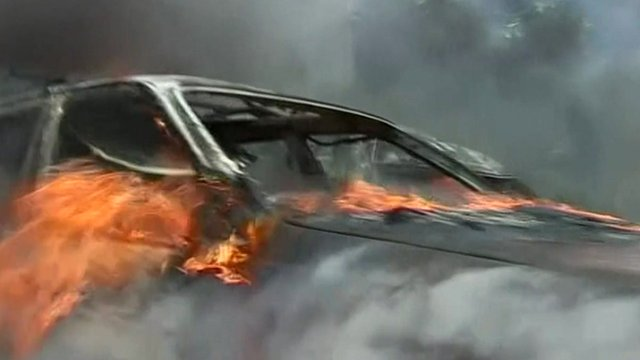 Car on fire in Tripoli, Lebanon