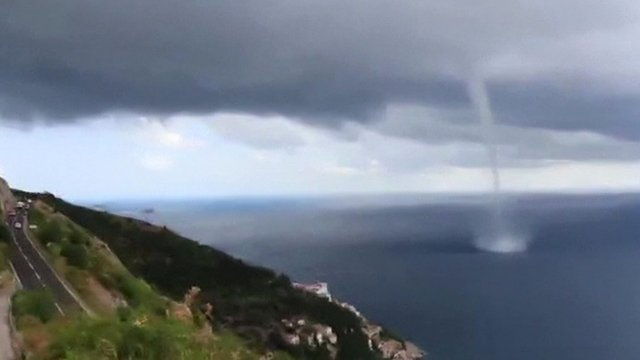 Amateur footage of the water spout