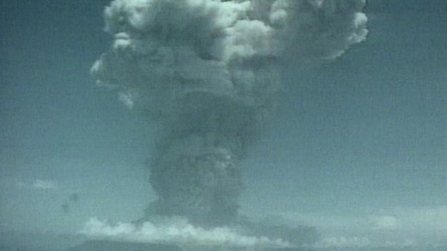 Volcano of Montserrat erupting in 1997