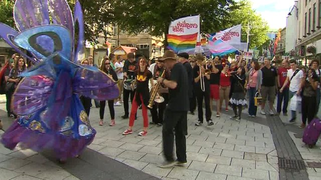 Mardi Gras parade in Cardiff